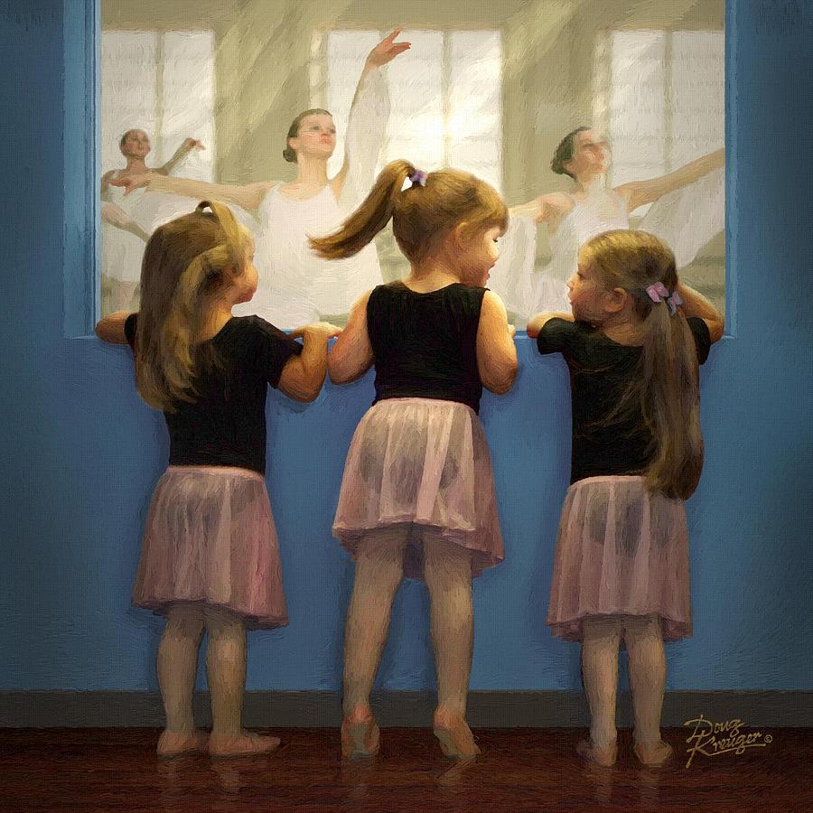 Ballet Stances Painting - Little Dancing Dreamers by Doug Kreuger