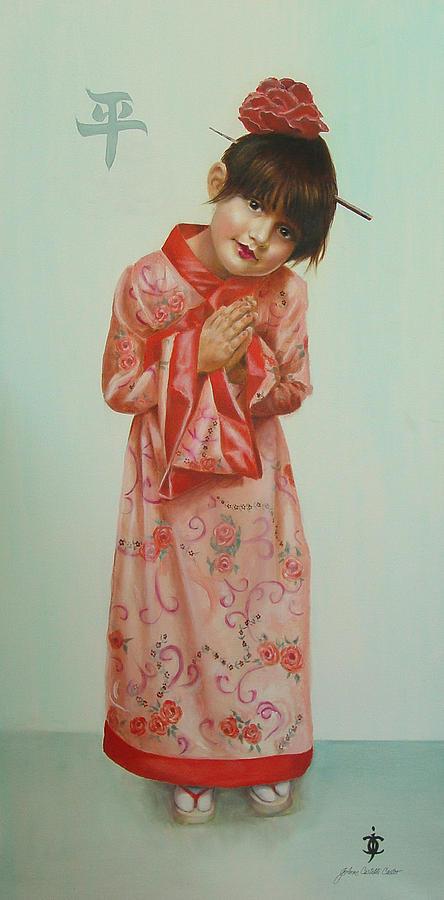 Geisha Painting - Little Geisha by JoAnne Castelli-Castor
