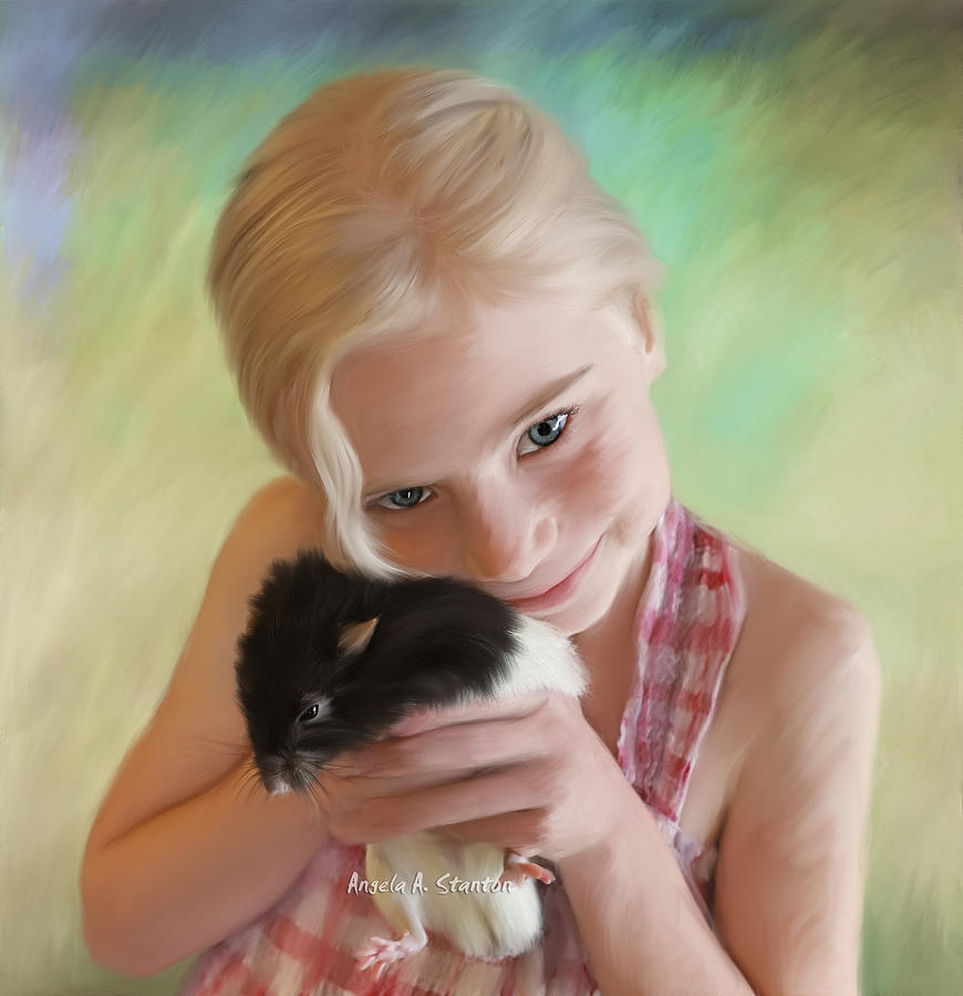 Girl Painting - Little Girl And Pet Rat by Angela A Stanton