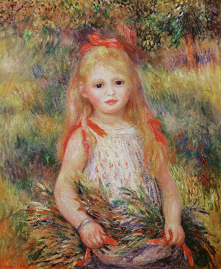 Child Painting - Little Girl Carrying Flowers by Pierre Auguste Renoir