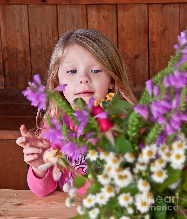 Child Photograph - Little Girl Flower Arranging by Valerie Garner