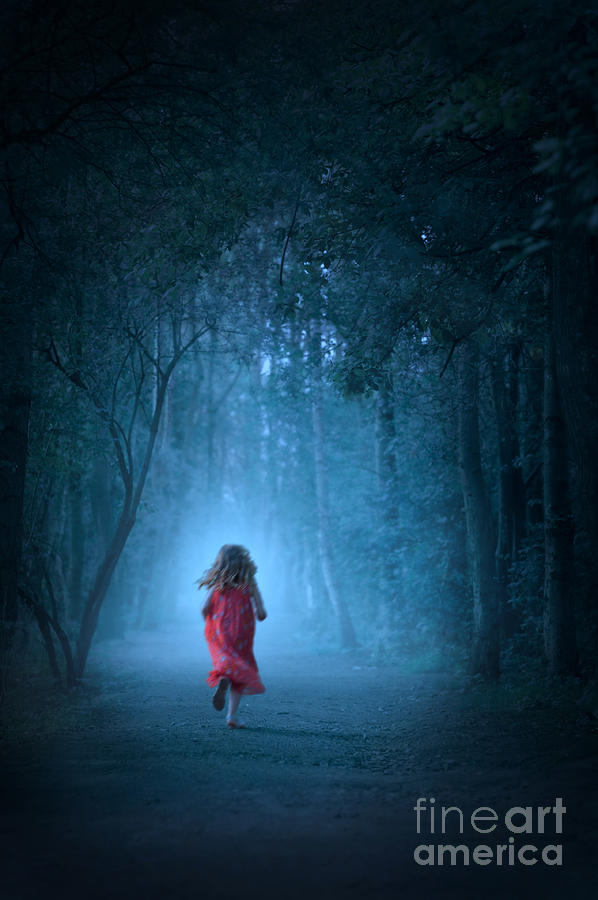 Girl Photograph - Little Girl In Red Dress Running In A Misty Forest by Lee Avison