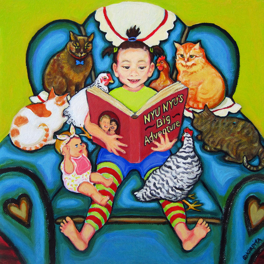 Reading Painting - Little Girl Reading To Doll Cats Chickens by Rebecca Korpita