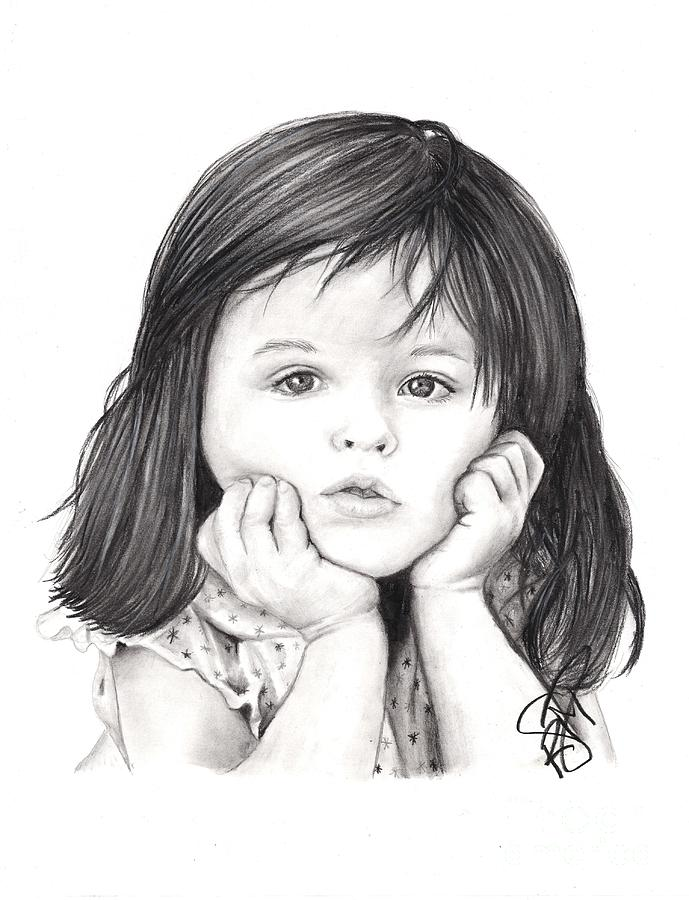 Little girl drawing by rosalinda markle for How to draw a little girl easy