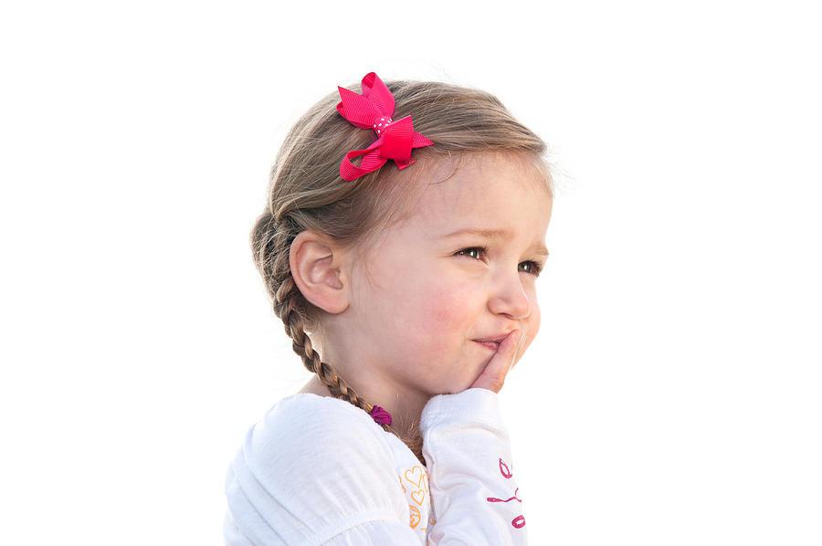 Child Photograph - Little girl thinking by Joe Belanger
