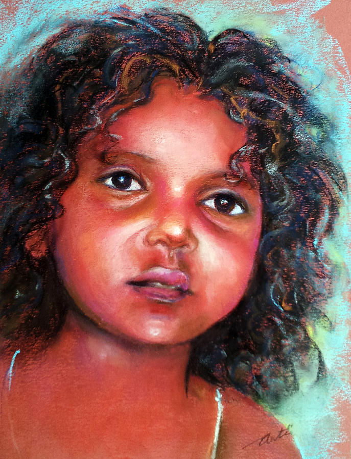 Little Girl With Black Curls Painting By Arti Chauhan