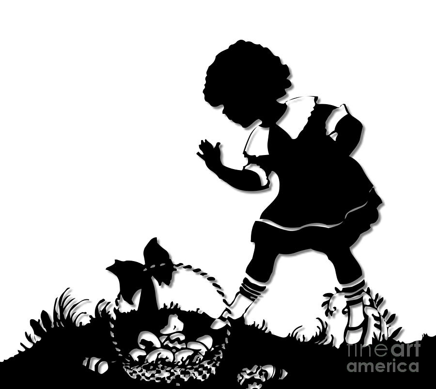 Little girl with easter basket silhouette digital art by rose easter basket digital art little girl with easter basket silhouette by rose santuci sofranko negle Choice Image