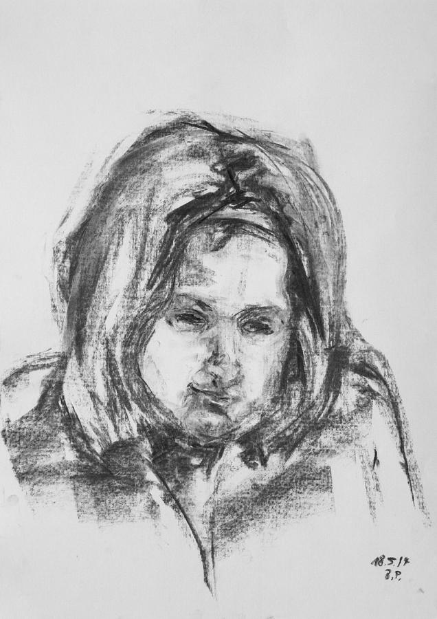 Girl Drawing - Little Girl With Hairband by Barbara Pommerenke