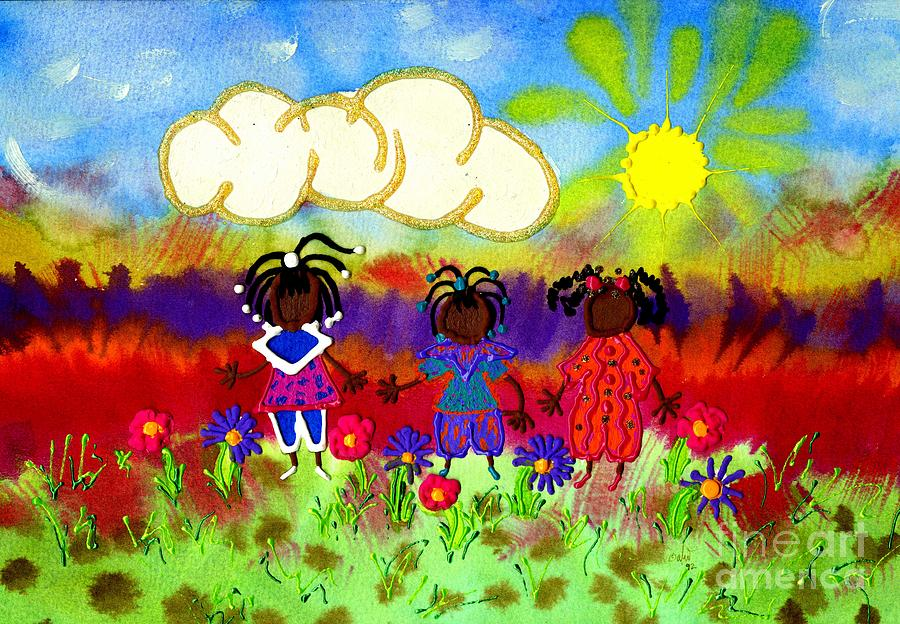 Unique Painting - Little Girlfriends by Angela L Walker