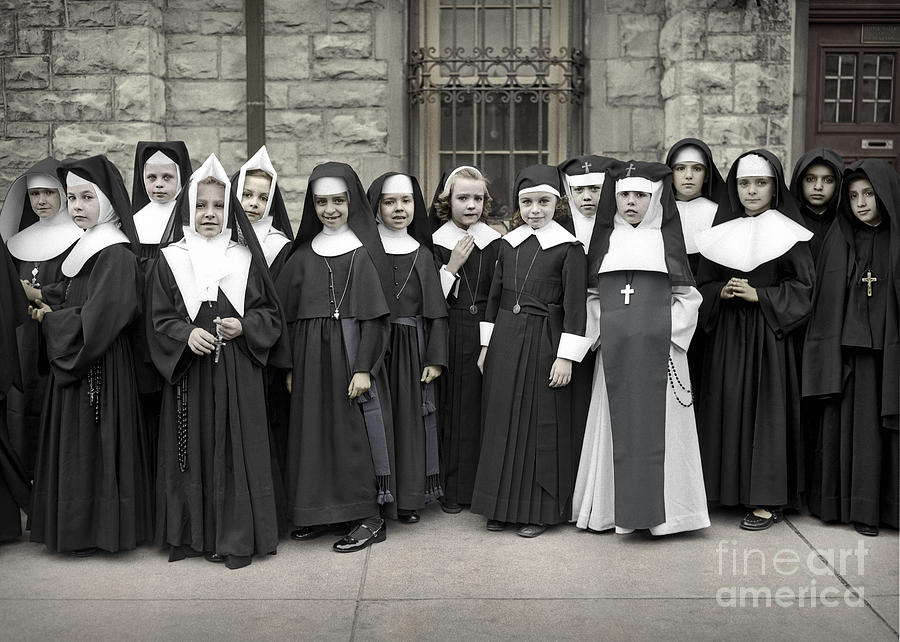 Young Girls Modeling Nun Habits by Martin Konopacki Restoration