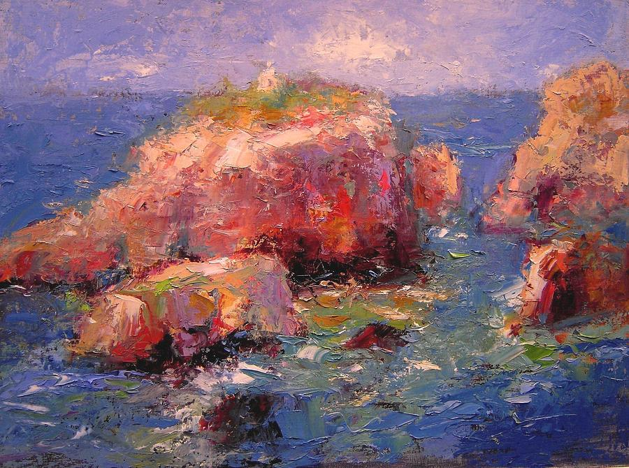 Seascape Painting - Little Greek Church On Thera by R W Goetting