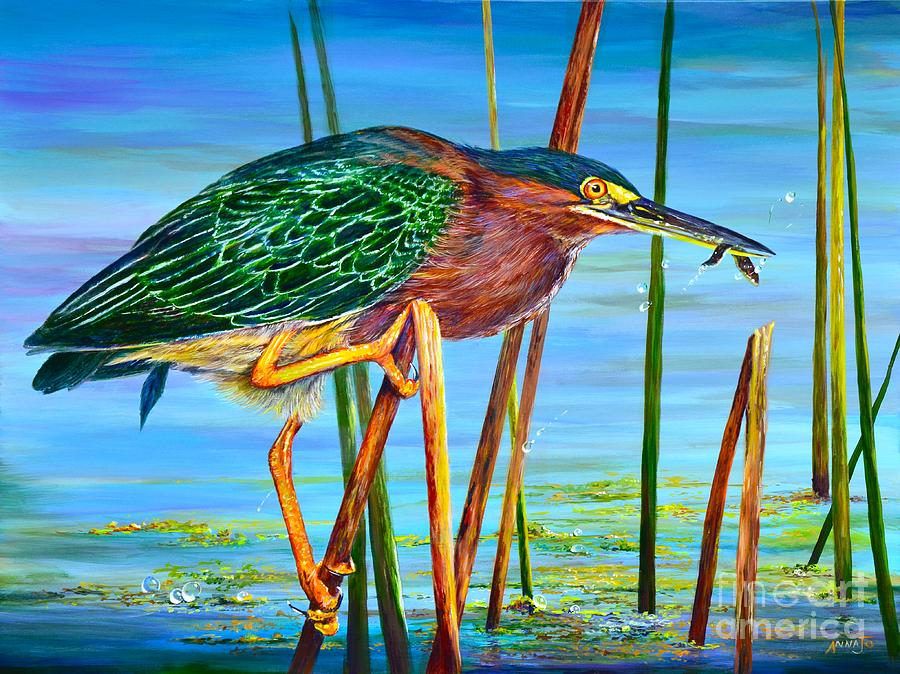 little green heron painting by annajo vahle. Black Bedroom Furniture Sets. Home Design Ideas