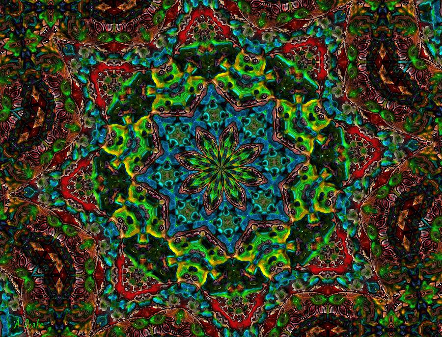 Kaleidoscopes Digital Art - Little Green Men Kaleidoscope by Alec Drake