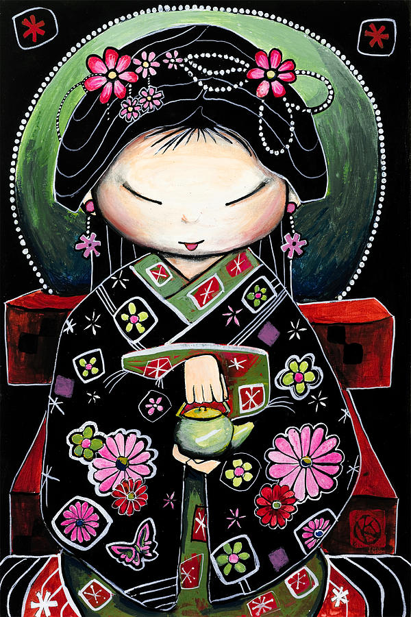 Cute Character Painting - Little Green Teapot by Karin Taylor