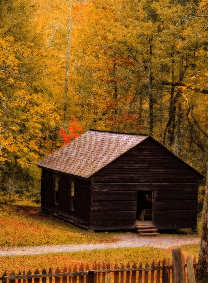 Little Greenbrier School Photograph - Little Greenbrier Schoolhouse In Autumn  by Dan Sproul
