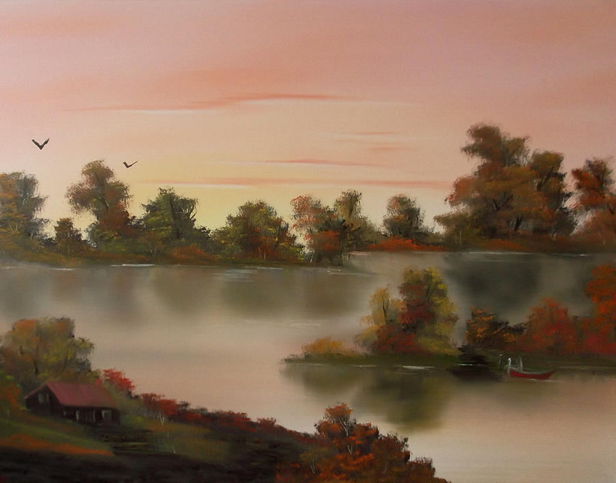 Landscape Painting - Little Haven At Sunset by Cynthia Adams