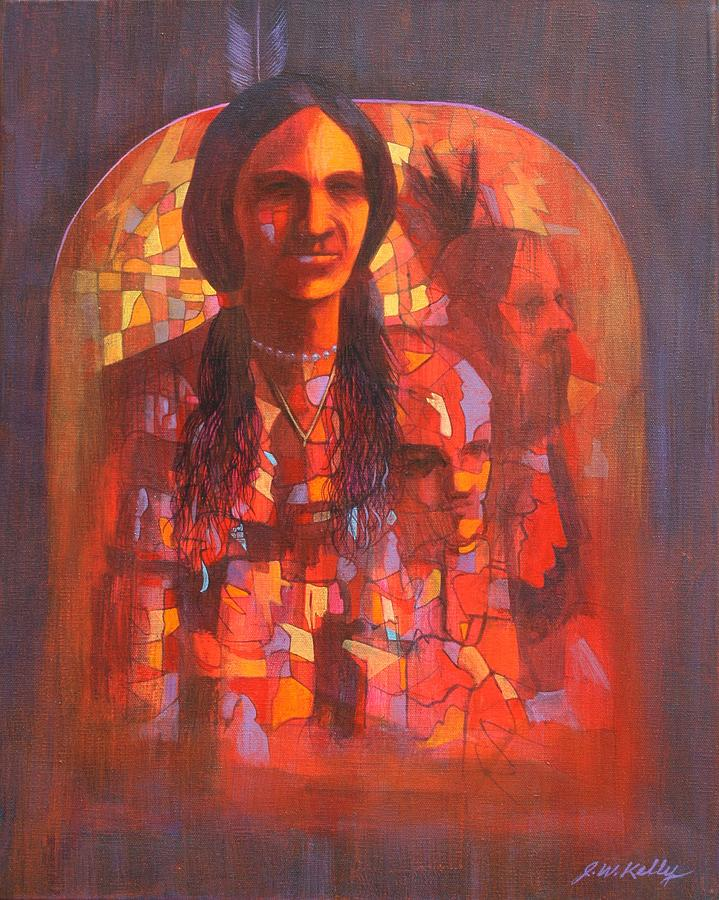 Figures Painting - Little Hawk Vision by J W Kelly
