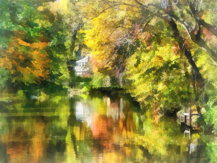 Autumn Photograph - Little House By The Stream In Autumn by Susan Savad