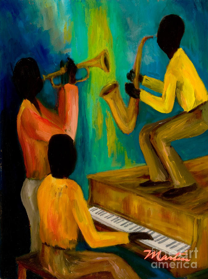 Jazz Painting - Little Jazz Trio I by Larry Martin
