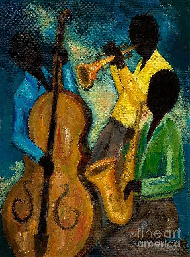 Jazz Painting - Little Jazz Trio IIi by Larry Martin