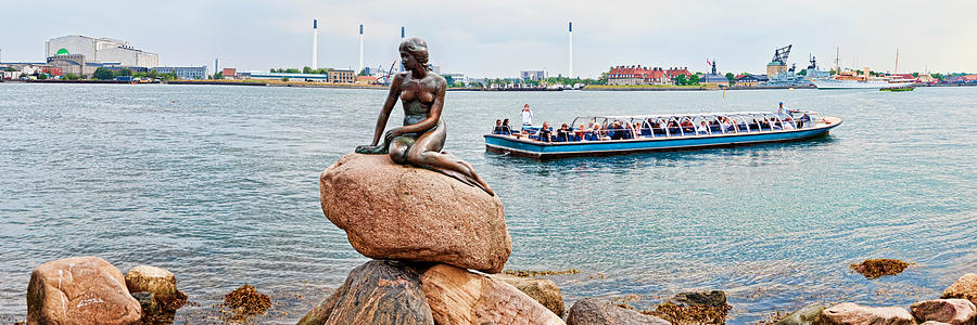 Color Image Photograph - Little Mermaid Statue With Tourboat by Panoramic Images