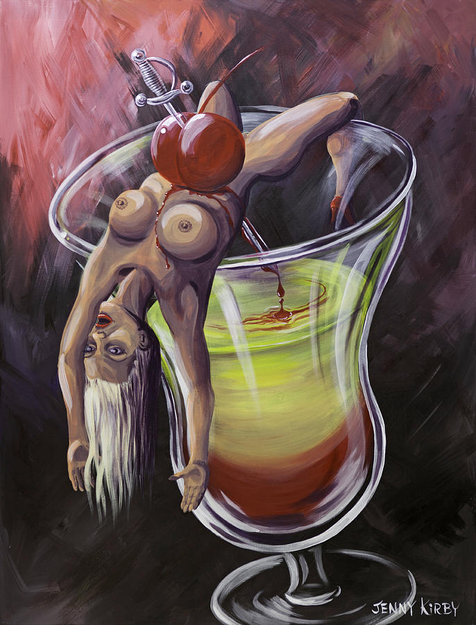 Surrealism Painting - Little Miss Liquid Courage by Borg  Queen