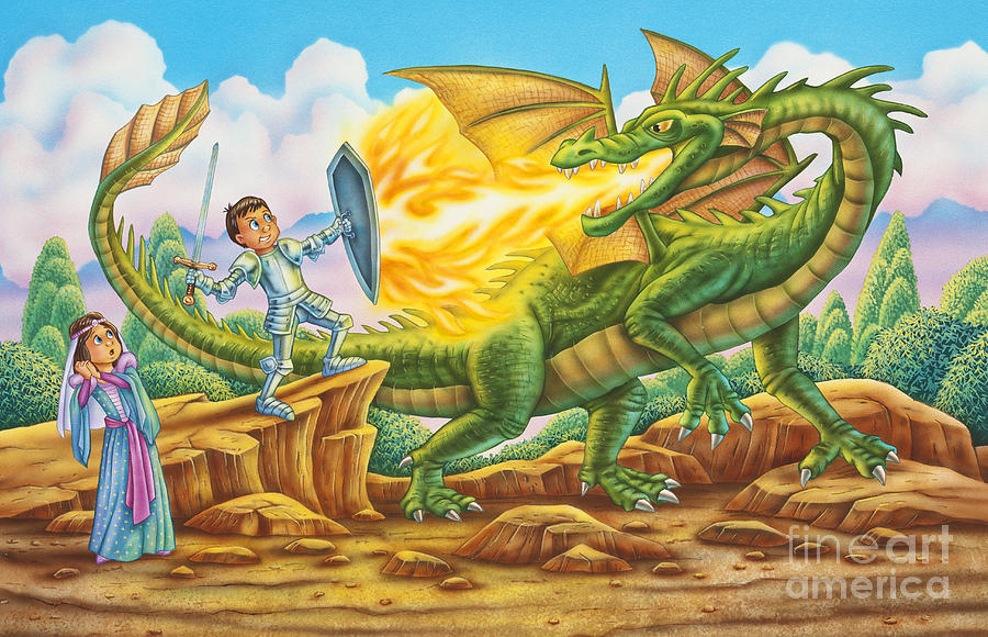 Dragon Painting - Little More Fire Please by Phil Wilson