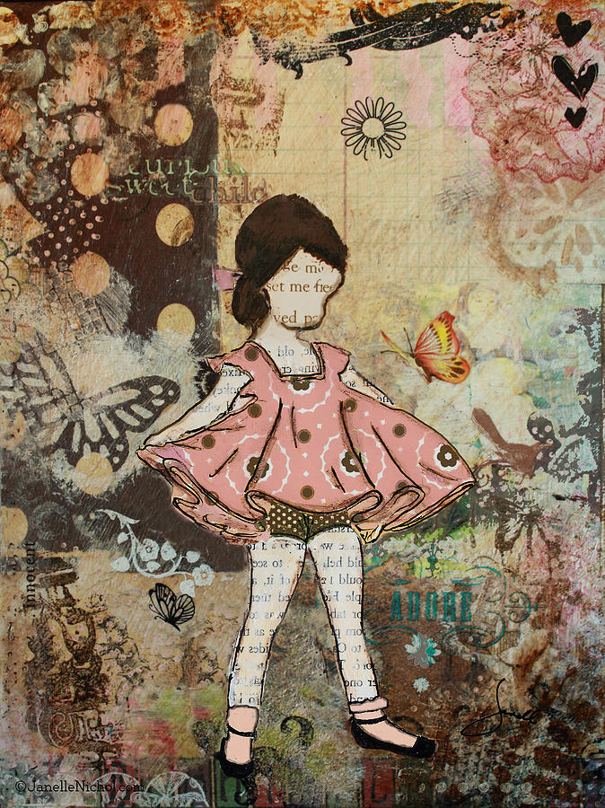 Little One Mixed Media Folk Art Of Whimsical Girl