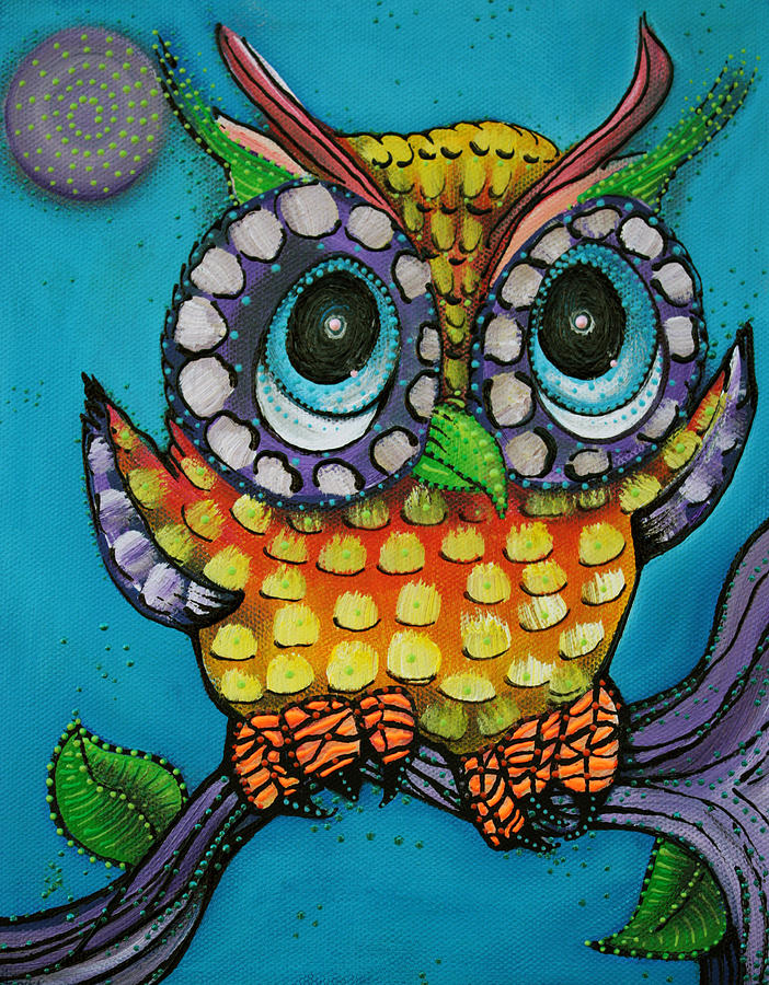 Owl Painting - Little Owl by Laura Barbosa