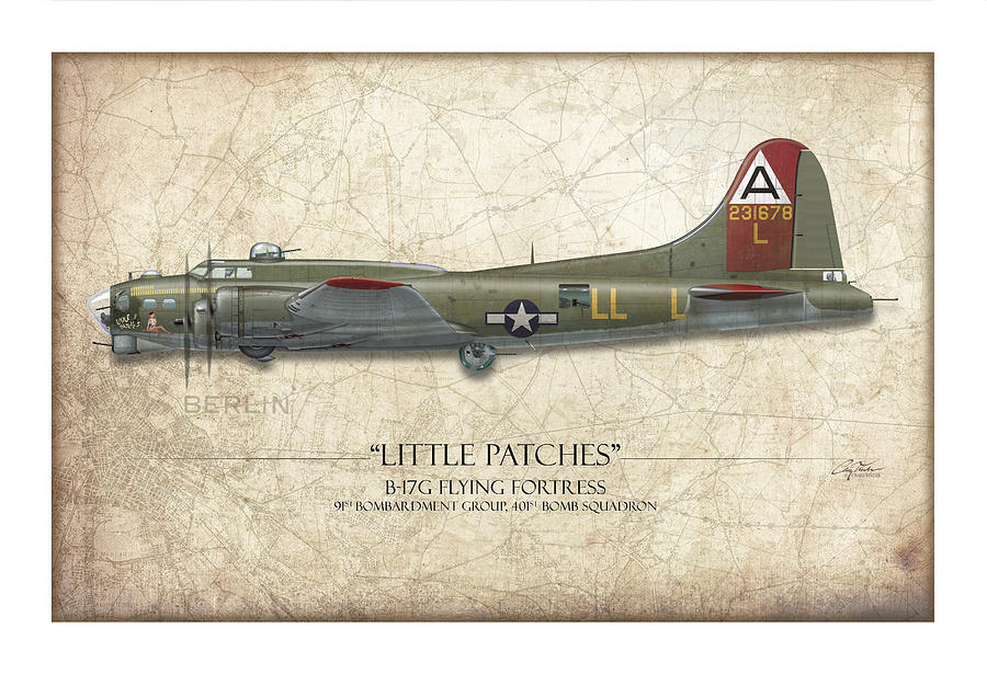Aviation Painting - Little Patches B-17 Flying Fortress - Map Background by Craig Tinder