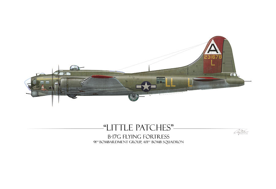 Aviation Digital Art - Little Patches B-17 Flying Fortress - White Background by Craig Tinder