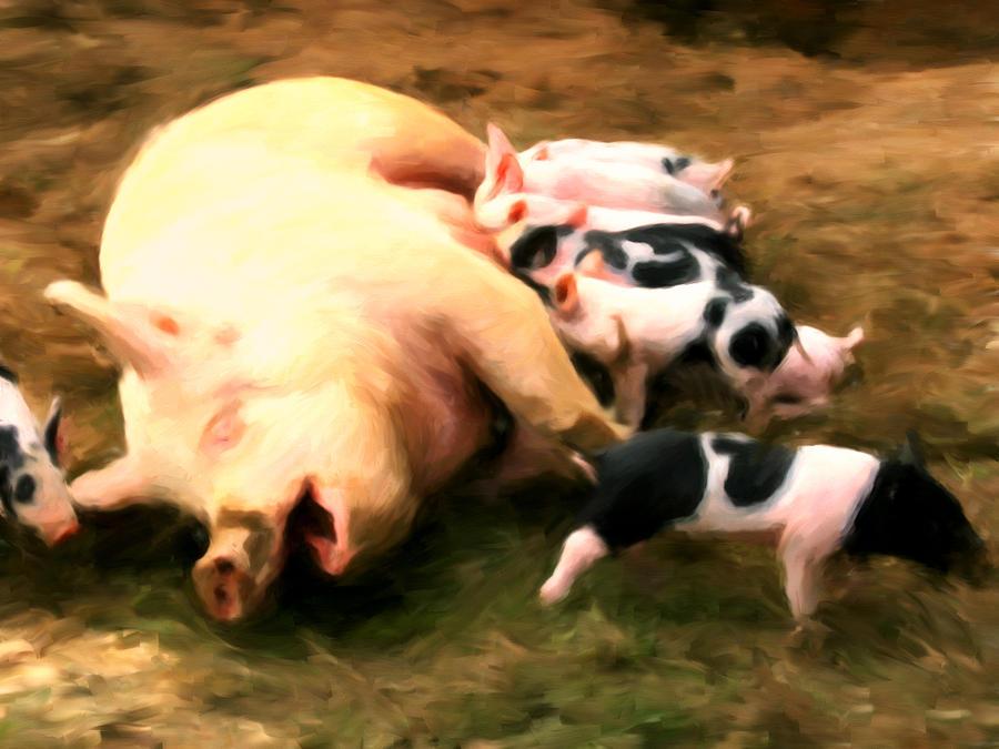 Pigs Painting - Little Piggies by Michael Pickett