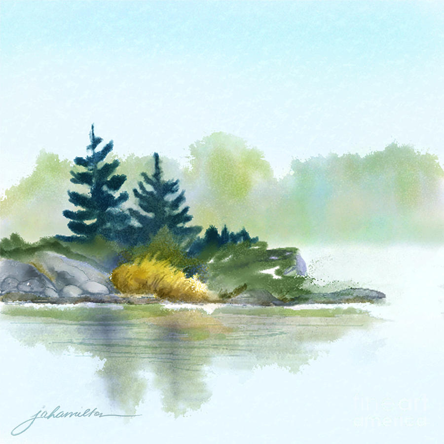 Lake Painting - Little Pine Point by Joan A Hamilton