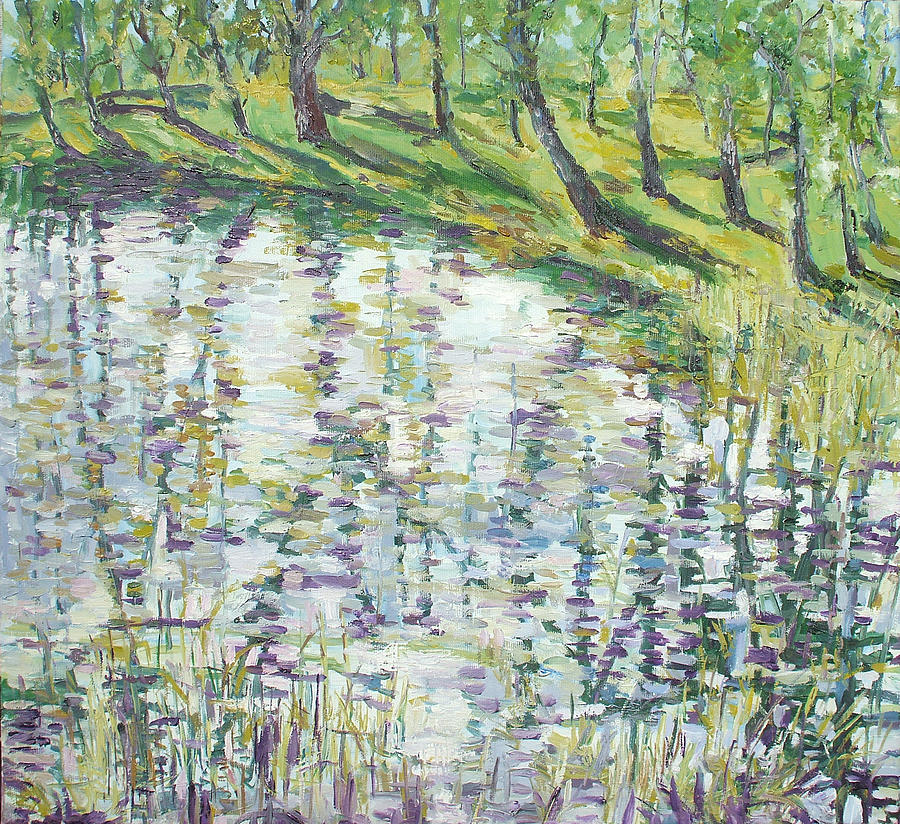 Oil On Linen Painting - Little Pond Next To River Warta by Animesh Roy