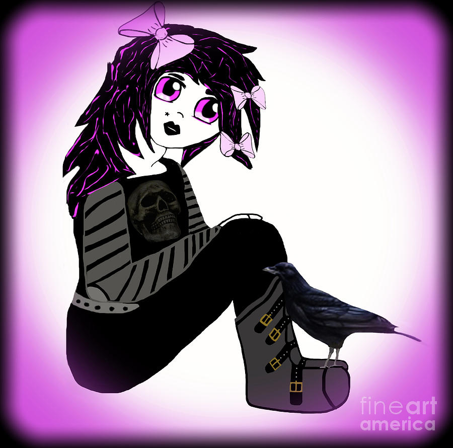 Anime Photograph - Little Purple Goth Girl by Eva Thomas