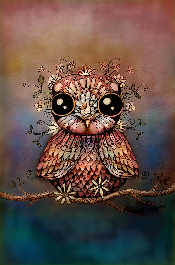 Little Digital Art - Little Rainbow Flower Owl by Karin Taylor