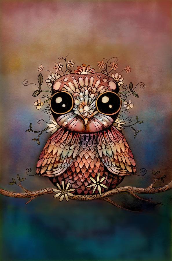 Little Rainbow Flower Owl Digital Art - Little Rainbow Flower Owl by Karin Taylor
