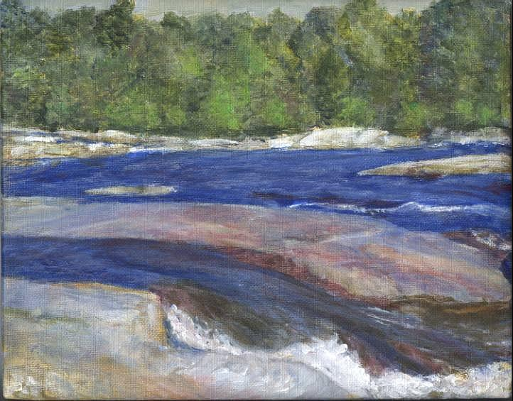 Moose River Painting - Little Rapids by Sheila Mashaw