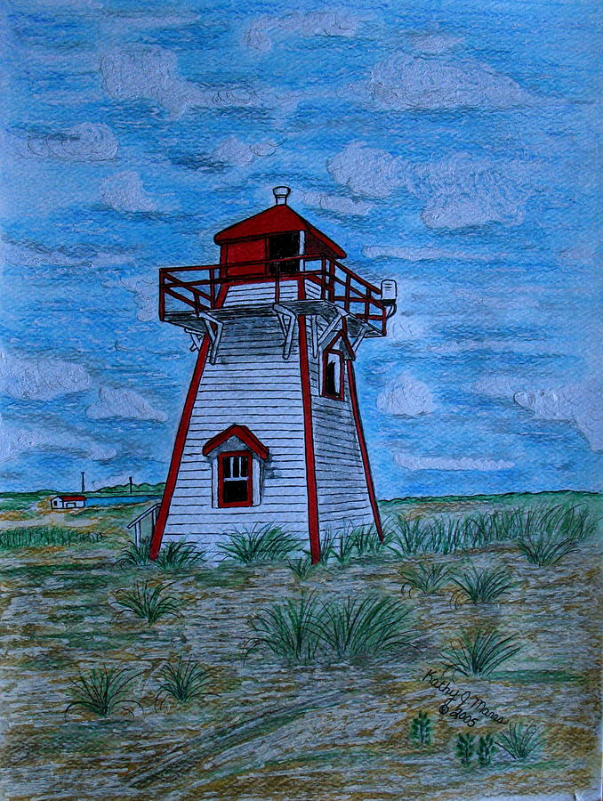 Red Painting - Little Red And White Lighthouse by Kathy Marrs Chandler