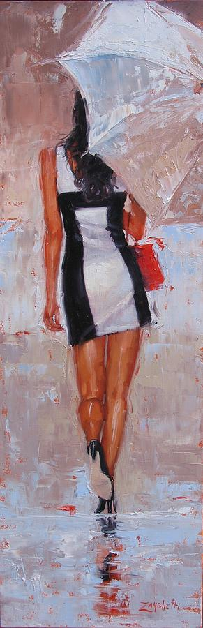 Pretty Girl Painting - Little Red Bag by Laura Lee Zanghetti
