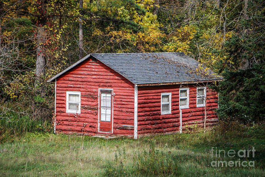 Little Red Log Cabin Photograph