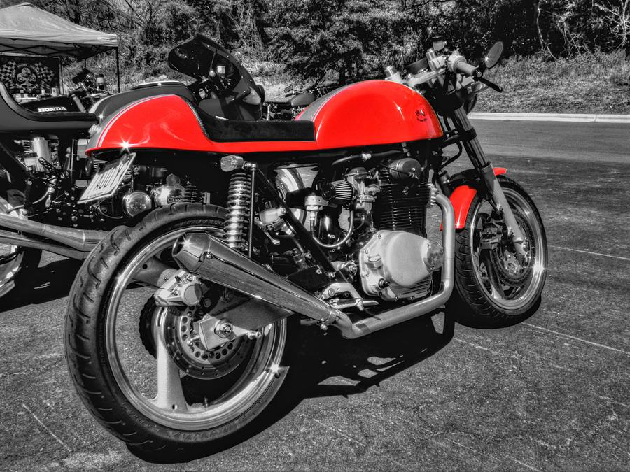 Motorcycle Photograph - Little Red Racer 001 by Lance Vaughn