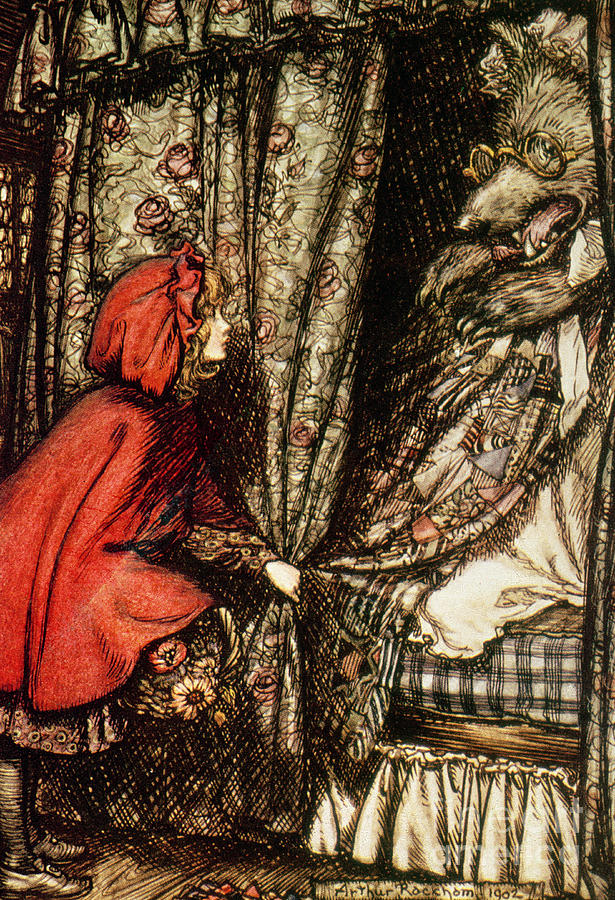 Fairytale Drawing - Little Red Riding Hood by Arthur Rackham