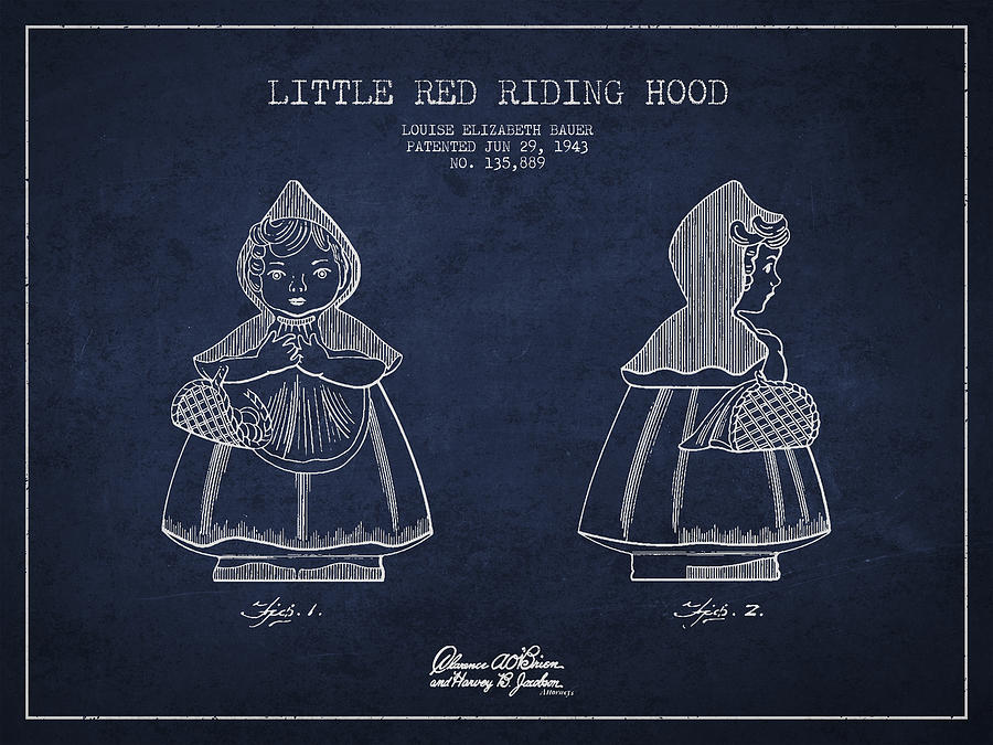 Little Red Riding Hood Drawing - Little Red Riding Hood Patent Drawing From 1943 by Aged Pixel