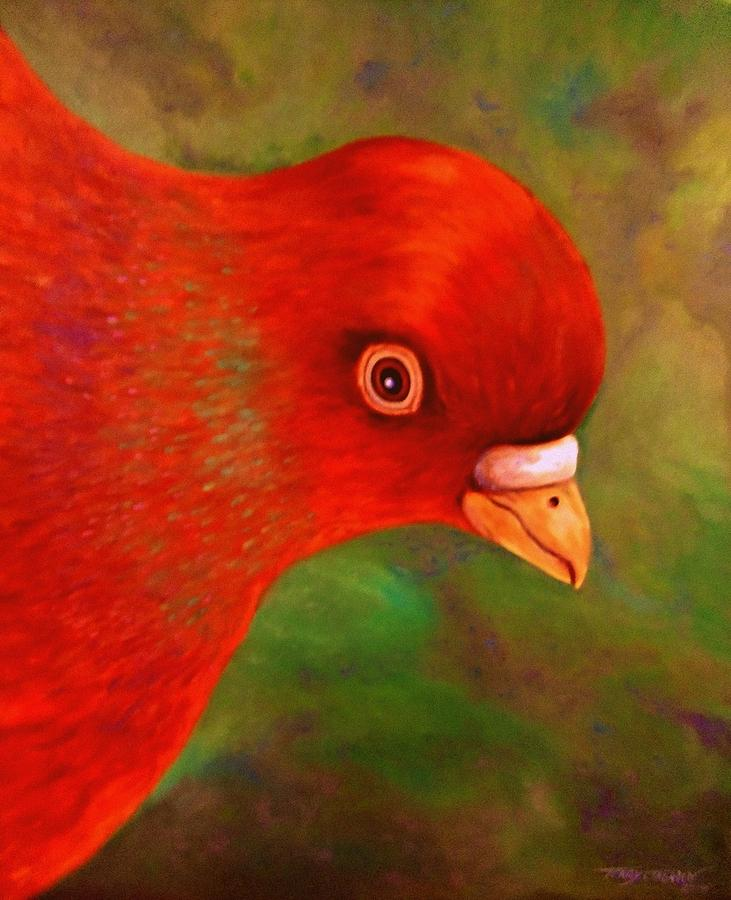 Bird Painting - Little Red by Terry Jackson