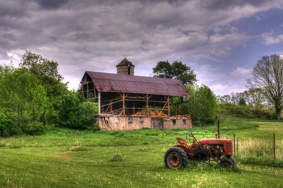 Red Tractor Photograph - Little Red Tractor by David Simons