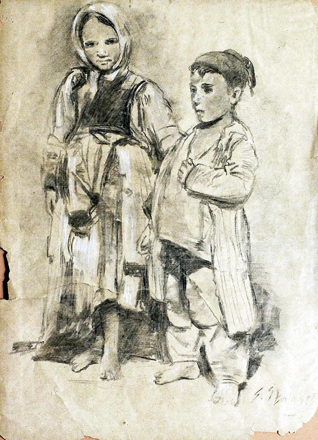 Children Drawing - Little Refugees - Greek Orphans by Sefedin Stafa