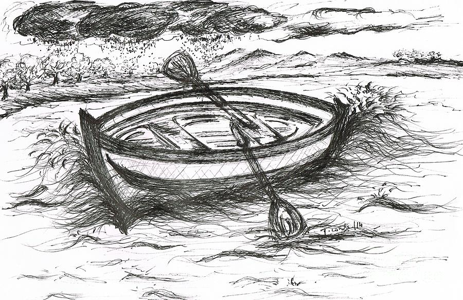 Whites Drawing - Little Rowing Boat by Teresa White