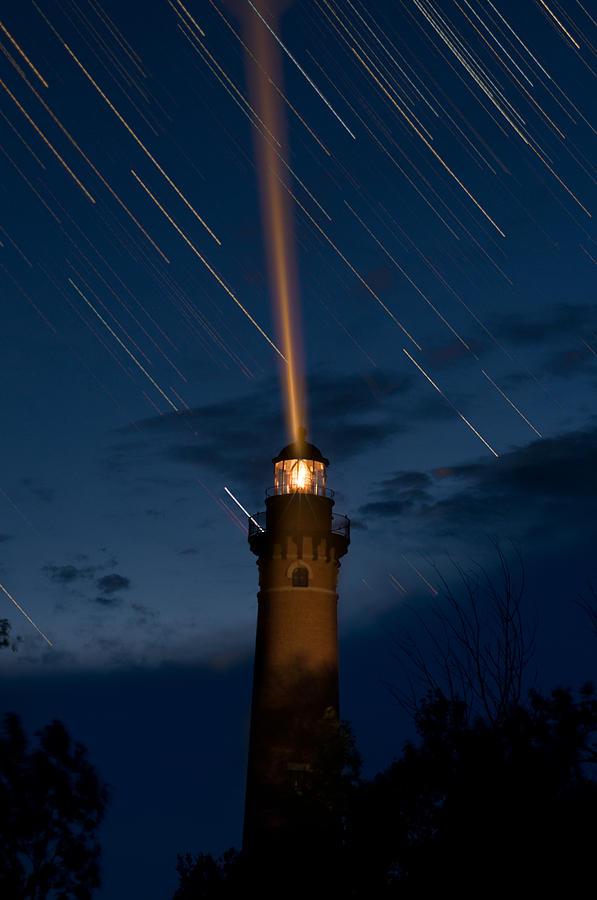 Blue Photograph - Little Sable Lighthouse by Steve Gadomski