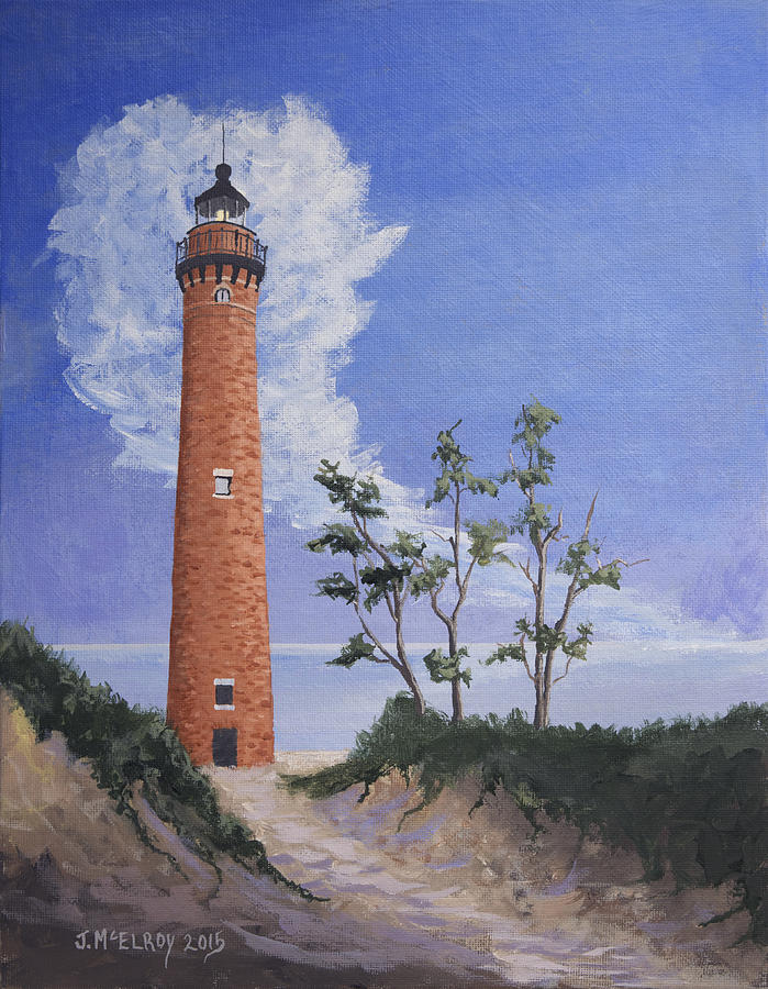 Sable Point Painting - Little Sable Point Lighthouse by Jerry McElroy
